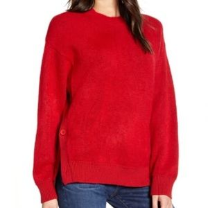 NWT Rebecca Minkoff Rae Button Side Red Sweater XL